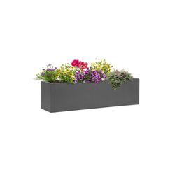 blumfeldt Pflanzkübel Solidflor Pflanztopf 75 x 20 x 20 cm Fiberglas In-/Outdoor dunkelgrau grau