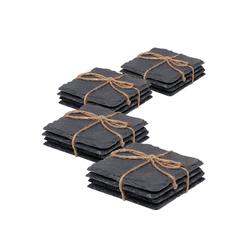 BigDean Glasuntersetzer 16er Schiefer Untersetzer Set Tischdeko Raclette Pfännchen Schick