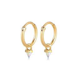 Elli Paar Creolen Creole Kristalle Spitze 925 Silber goldfarben