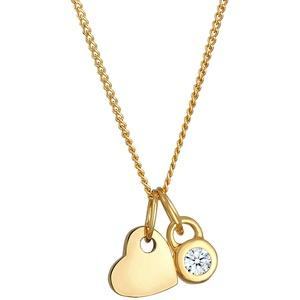 DIAMORE Halskette Damen Herz Solitär mit Diamant (0.03 ct) in 585 Gelbgold