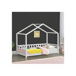en.casa Kinderbett, Geiranger Hausbett Bettenhaus mit Seitenschutz Kiefernholz 80x160cm Weiß