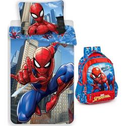 Kinderbettwäsche Marvel´s Spiderman - Rucksack und Bettwäsche-Set, 135x200 & 80x80 cm, Spiderman, 100% Baumwolle