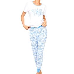 Damen Schlafanzug Cybèle weiß-blau