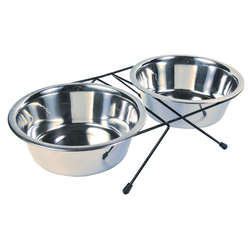 Trixie Eat on Feet Stainless Steel Bowl Set, Durchmesser: 20 cm