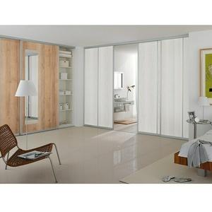 Room Plaza Schiebetür-Bauset Easy  (Eiche Country/Pinie White, Profilfarbe: Silber)