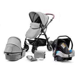 Kinderkraft Kombi-Kinderwagen Kombi Kinderwagen Moov, 3in1, schwarz grau