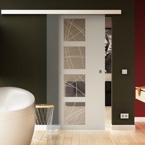 Made in Germany SoftClose Schiebetür aus Glas 900x2050 mm  Kurven-Design  Levidor® EasySlide-System komplett Laufschiene und Muschelgriffen für Innenbereich  ESG-Sicherheitsglas
