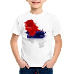 style3 Print-Shirt Kinder T-Shirt Flagge Serbien Fußball Sport Serbia WM EM Fahne weiß 128