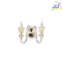 Ideal Lux Wandleuchte STRAUSS, 2-flammig, E14, Roségold / Glas klar / Bernstein-Kristall IDEA-140599