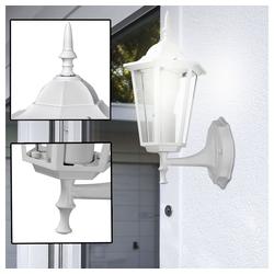 etc-shop LED Laterne, Wand Lampe Filament Retro Laterne Fassaden ALU Außen Leuchte weiß im Set inkl. LED Leuchtmittel