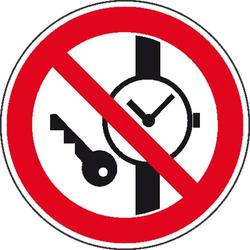 Verbotsschild Mitführen von Metallteilen oder Uhren verboten Folie selbstklebend (Ø) 100mm ISO 701