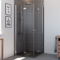 BREUER Elana Komfort Eckeinstieg 80 x 80 cm Alu silber matt/Klarglas CER