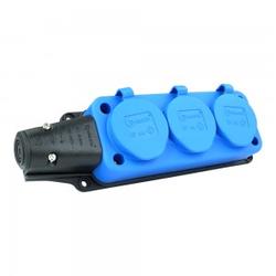Steckdosenleiste Mehrfachsteckdose 3-fach Aussen Schuko blau 9658