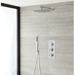 Duschsystem inkl 300mm Kopfbrause, Handbrause & Triple Duscharmatur - Ecco, von Hudson Reed