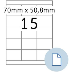 Etiketten A4 Papier weiß 70x50,80mm 500 Blatt/7500 Etiketten