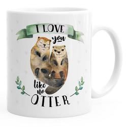 MoonWorks Tasse Kaffee-Tasse Otter Pärchen I love you like no otter Geschenk Liebe Spruch Kaffeetasse Teetasse Keramiktasse MoonWorks® einfarbig, Keramik