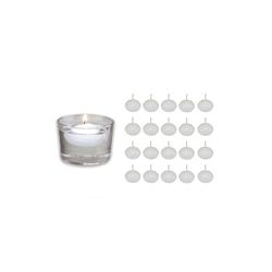 Bolsius Schwimmkerze 20er Set weiß Kugel Deko Teich Wasser Kerzen schwimmend Teelichter aus Wachs 4,5cm