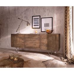 DELIFE Sideboard Wyatt, Akazie Braun 175 cm 3D Optik mittig Edelstahl Design Sideboard braun 175 cm x 71 cm x 45 cm