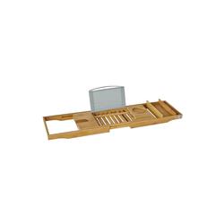 SoBuy Badewannenablage, Badewannenbrett mit Buchstütze, Wein Glashalter und Seifenfach, ausziehbares Badewannenauflage