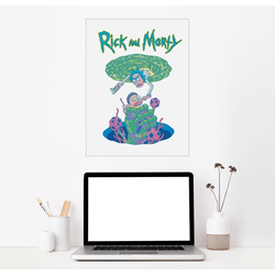 Posterlounge Wandbild, Rick and Morty Portal 70 cm x 90 cm