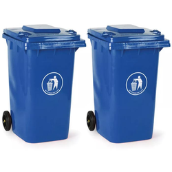 2x kunststoff-mülltonne 240 liter, blau