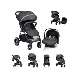 Moni Kombi-Kinderwagen Kinderwagen, Babyschale Sindy 2 in 1, klappbar, Babyschale 0+, Vorderräder schwenkbar schwarz