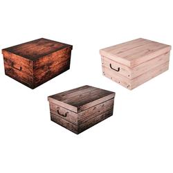 KREHER Aufbewahrungsbox Wood, 3er-Set bunt