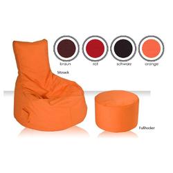 Bodenkissen in Orange Rückenlehne