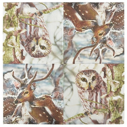 Linoows Papierserviette 20 Servietten Rehe und Eulen im Winter 33x33 cm, Motiv Rehe und Eulen