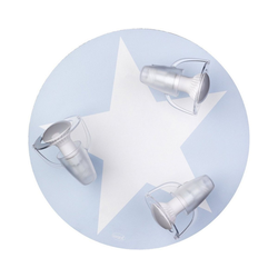 Waldi-Leuchten Deckenleuchten Deckenleuchte grau mit Stern weiß, 3-flg. blau