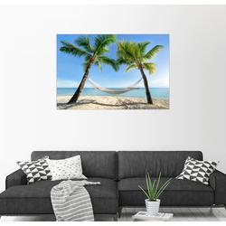 Posterlounge Wandbild, Hängematte am Strand mit Palmen in der Südsee 90 cm x 60 cm