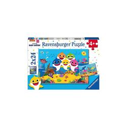 Ravensburger Puzzle Puzzle Baby Hai und seine Familie, 2 x 24 Teile, Puzzleteile