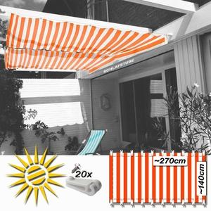 Sonnensegel orange weiß ca 270x140 cm 20 Laufhaken Seilspannmarkise Wintergarten