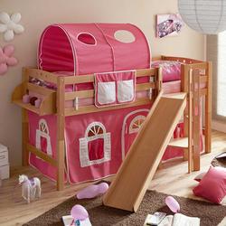 Kinderzimmer Rutschbett aus Buche Massivholz Rutsche und Vorhang in Pink