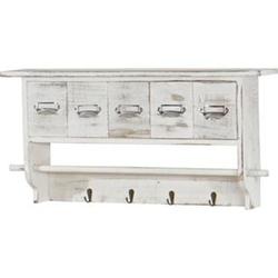 Küchenregal MCW-C49, Haushaltsregal Regal, Vintage mit 5 Schubladen 32x65x13cm ~ Shabby Look, weiß