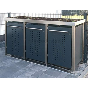 Edelstahl / Aluminium Mülltonnenbox mit Pflanzenwanne für 3 Tonnen 240L (MW222RF) Antrazit. Mülltonnenverkleidung, Mülltonnenhaus