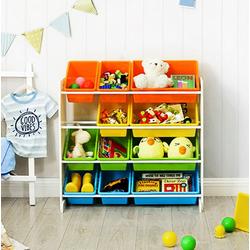 SONGMICS Aufbewahrungsbox GKR04W GKR04KL, Standregal Spielzeugregal mit 12 Aufbewahrungsboxen Kindergarten Mehrfarbig bunt