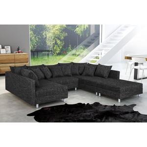 Küchen-Preisbombe Sofa Wohnlandschaft Sofa Couch Ecksofa Eckcouch in Gewebestoff schwarz Minsk XXL, Sofa in U-Form mit Hocker