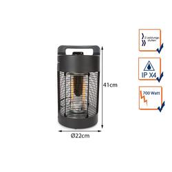 PEREL Terrassenstrahler, 700 W, Elektrischer 700Watt Infrarot Tisch Heizstrahler für draußen, Outdoor Wärmestrahler zylinderförmig Ø22cm