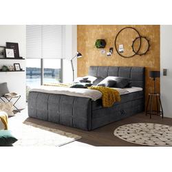 Boxspringbett Sacramento, inkl. zwei Bettkästen und Topper grau 184 cm x 220 cm