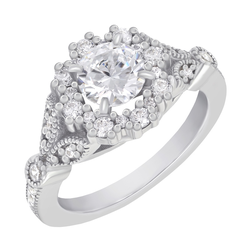 Verlobungsring mit Halo-Diamant im Vintage-Stil Uviola