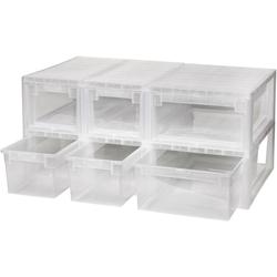 KREHER Aufbewahrungsbox 4x 7 Liter, 2x 12 Liter, mit Schubladen 6er Set weiß