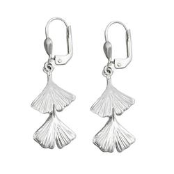 Gallay Paar Ohrhänger Ohrbrisur Ohrhänger Ohrringe 38x12mm Ginkgo-Blatt doppelt glänzend Silber 925 (inkl. Schmuckbox), Silberschmuck für Damen