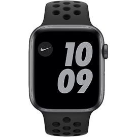 Apple Watch SE Nike GPS 44 mm Aluminiumgehäuse space grau, Nike Sportarmband anthrazit/schwarz