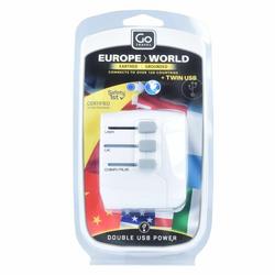 Go Travel Europe-World Adaptery podróżne weltweit USB 6 cm weiss