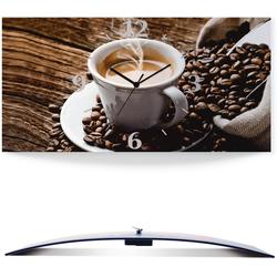 Artland Wanduhr Heißer Kaffee - dampfender Kaffee (3D Optik gebogen) 60 cm x 30 cm x 0,3 cm