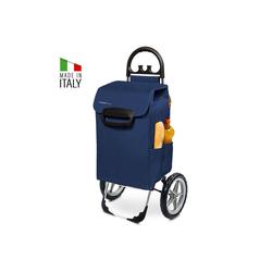 linovum Einkaufstrolley Kiley Einkaufstrolley XXL in blau mit 78 L Fassung & Seitentaschen - große & leise Räder