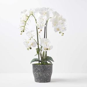 Homescapes extra große Kunstorchidee im Topf, hochwertige künstliche Orchidee mit weißen Blüten, XXL-Deko-Orchidee Phalaenopsis im dunklen Keramiktopf, dekorative Kunstblume, 82 cm hoch