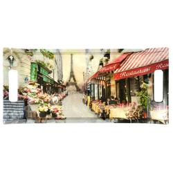 Lashuma Tablett Paris, Melamin, Bedrucktes Geschirrtablett, Desserttablett eckig mit Griffen bunt 41 cm x 19 cm x 3 cm