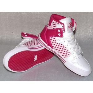 Supra Vaiders S11210K HI Cut Junior Schuhe Freizeit Sneaker 35,5 UK2,5 Pink Weiß